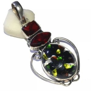 """New Dichroic Glass and Garnet Silver Pendant. 2 1"""""""